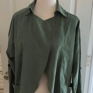 NWT open front trench style jacket size large